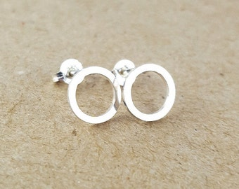 Silver Circle Earrings, Handmade Bridesmaid Gift and Gift for Her, Geometry inspired