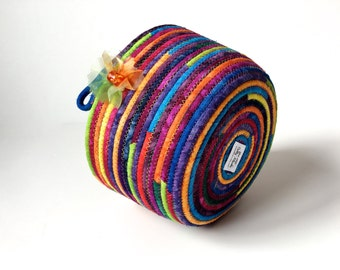 Coiled Rope Basket - Jewel Tone Hand Dyed Colors -  Extra Large Organizer - Easter or Mothers Day - Fiber Art - Table Ware