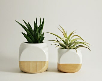 New Size - Geometric Planter // White + Wood