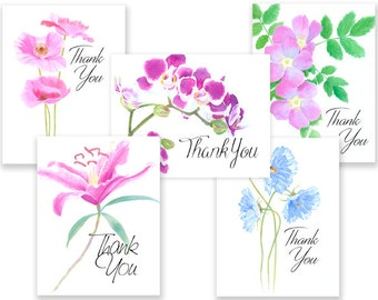 Flower Group1 Thank You note cards w/envelopes