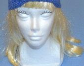 Blue Denim Head Band, Romantic Turban Design, Woman, Ear Warmer, Made in the U S A