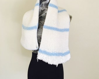 Long White and Blue Scarf, Stripes, Vintage Inspired, Femenine Accessory, Hand made in the U S  A, Item No. DeBg10