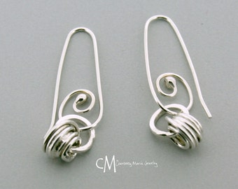 Gifts for Her Valentines Day - Wrapped Drops - Dangle Earrings - Hoop Earrings - Handmade silver Jewelry - Metal Smith - Everyday Earrings