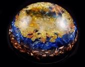 "Citrine Orgonite 2"" Dome with Arkansas Crystals, Elite Shungite, Rhodizite, Petalite Phenacite Selenite Tourmaline"