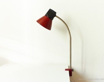 Vintage Red Gooseneck Lamp Industrial Table Lamp 70s
