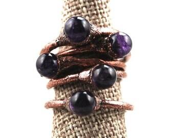 Amethyst sphere ring | Amethyst orb ring | Purple crystal ball ring | Copper ring | Amethyst copper ring | Gemstone ring | Crystal healing
