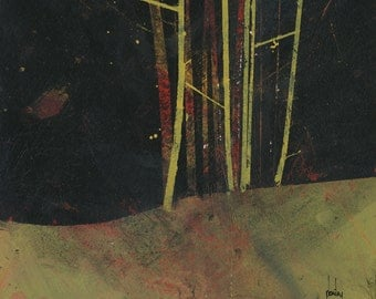 Original woodland painting forest painting - Into the dark wood