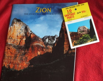 ON SALE 2 Zion National Park Souvenir Items - 10 Assorted Zion Snapshot Prints and Zion The Story Behind the Scenery, a soft back travel boo