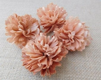 Sola ruffle flowers  -- SET of 12 - peachy color