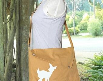 Summer Sale 10% off yellow cotton canvas messenger bag / shoulder bag / deer messenger /diaper bag / fawn sewn