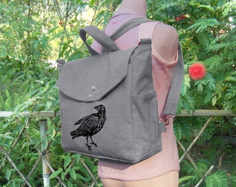 Gray canvas backpack, raven screenprinted backpack, canvas messenger bag, travel bag, hand bag, shoulder bag