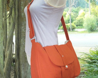 orange cotton canvas purse / shoulder bag / messenger bag / everyday bag / diaper bag / cross body bag - 6 pockets