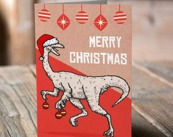 Dancing Dino Christmas Card