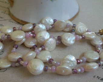 keishi pearl necklace coin pearl beads vintage necklace white keishi and pink bead necklace