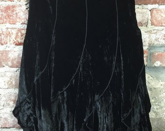 Vintage Black Velvet Peasant Skirt Knee Length