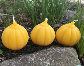 "Pumpkin Beeswax Candles - Set of 3, each 2.25"" wide"