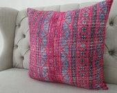 "Vintage 22""By22, Cushion covers Indigo batik Hmong Pillow case, Handwoven Hemp Fabric,"