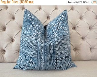 "ON SALE, Vintage Cotton Tribal Hand Print Patch Work Pillow Case 18"" x 18"" Pieces Of Retro Tribal Costume,Throw Pillow,Decorative Pillows"