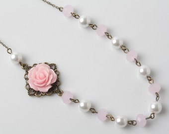 Pink Bridesmaid necklace, Pink rose necklace, pearl and crystal necklace, Pink Bridal necklace, bridesmaid gift, pink wedding necklace