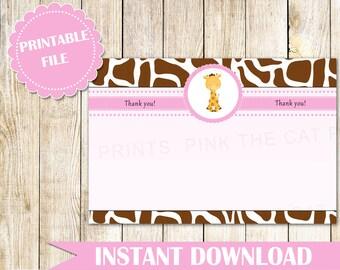 Giraffe Thank You Card Giraffe Baby Shower Giraffe Birthday Party Baby Girl Shower Thank You Notes Printable File INSTANT DOWNLOAD