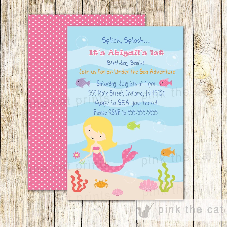 Mermaid Birthday Invitation Under The Sea Mermaid Birthday