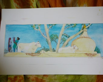 "cows and temples of vrndavana India   original painting on card 20x 7"" prints available + art cards"