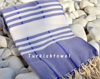 Turkishtowel-Soft-Hand woven,warp&weft cotton Bath,Beach,Travel Towel-Point twill pattern,Cream stripes on Purplish Blue