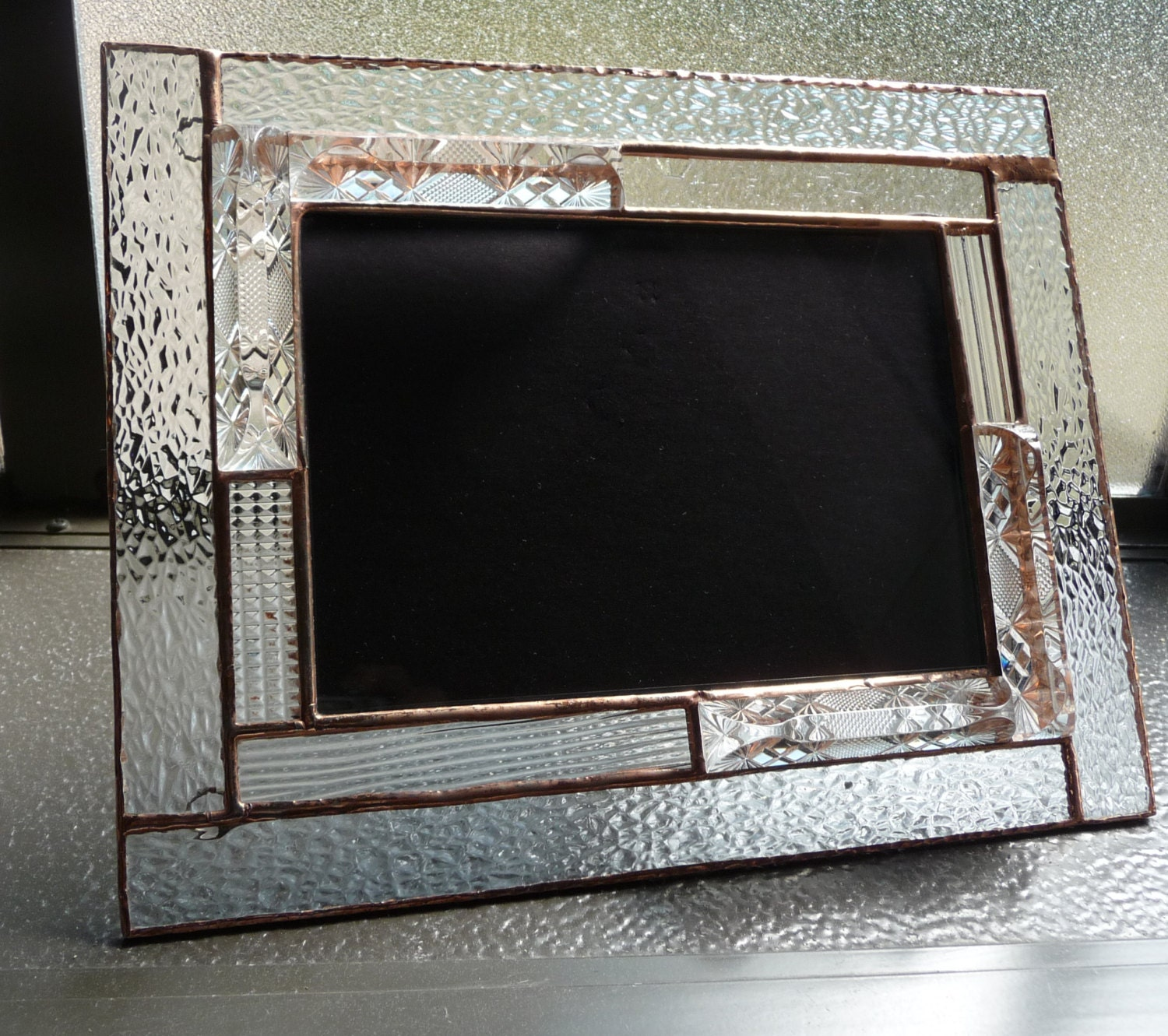 Stained glass 5 x 7 picture frame textured picture frame clear stained glass 5 x 7 picture frame textured picture frame clear multifaceted frame hammered glass glue chip stained glass jeuxipadfo Images