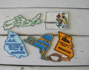 Vintage STATE Magnet Set..retro housewares. kitsch. magnet. kitchen. fridge. state. novelty. collectible. united states of america.
