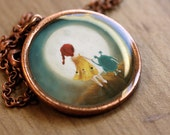 The Moon necklace - X-large resin pendant with stunning illustration and antique copper chain - Perfect for adults
