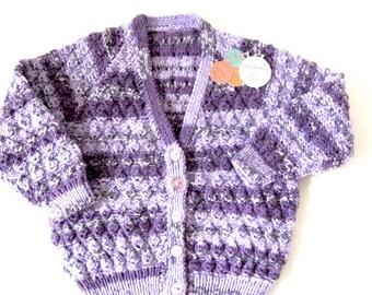 Hand Knit girls sweater, lilac knit jacket, girls knit Sweater, girls knit Jacket, toddler knit sweater, purple knit sweater, girls cardigan