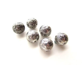 6 Large Hollow Metal Silver Beads / Chunky Beads