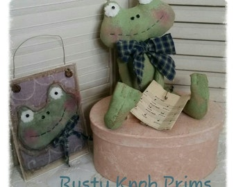 Frog Doll Pattern/ Primitive Stubby Rag Doll Mister Frog/   How to Make Doll Greeting Cards/ Primitive EPatterns/ Prims Magazine/ Rag Doll