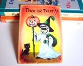 Small Ready to Frame Halloween Print * Trick Or Treat Black Cat Girl Ghost Jack O Lantern Pumpkin Retro Holiday Decoration Home Decor