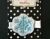 Light Blue Snowflake Embroidered Felt Clip by The Spunky Little Monkey