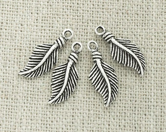 4 of 925 Sterling Silver Oxidized  Feather Charms 7x14 mm. :th1973