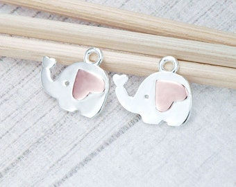 2 of 925 Sterling Silver Elephant Charms 7x12mm. ,Two Tone Rose Gold & Silver   :pg0040