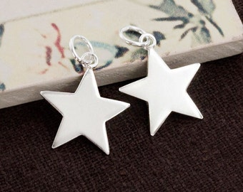 2 of 925 Sterling Silver Star Charms 14.5mm. :th2472