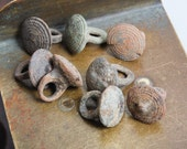 Set of 8 Antique miniature metal charms, buttons, dark patina (n44)