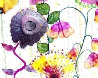 Whimsical Art Print, Alcohol Ink Painting, Flower Artwork, Fun Art Work, Giclee Print, Garden Art, Home decor wall art, Floral art For Her