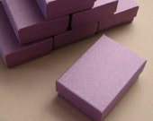 10 High Quality Matte DUSTY PURPLE Cotton Filled Jewelry Boxes 2 1/2 x 1 3/4 x 15/16 inches - Small