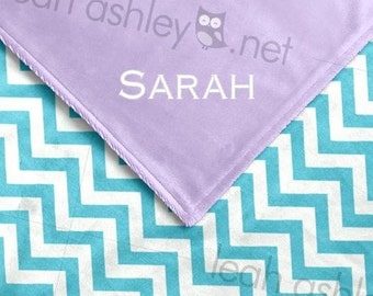 Baby Blanket - Turquoise Chevron MINKY, Lavender MINKY Smooth - Piper - BB1