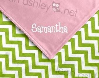 Baby Blanket - Lime Green Chevron MINKY Dot, Pink MINKY Smooth - Sadie - BB1