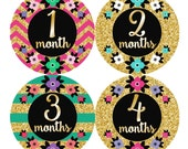 Baby Month Stickers, Monthly Baby Stickers, Baby Girl First Year Stickers, Baby Milestones, Baby Shower Gift, Glitter Gold Black Floral 171G