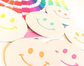 80's theme, Childrens party decoration, paper coasters, retro smiley face, x6, table decoration, colourful, hostess gift