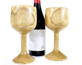 Wooden Wine Glass Set Made from Chestnut Wood