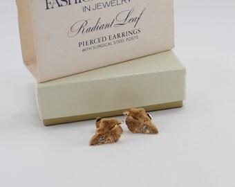 Vintage 1978 Signed Avon Radiant Leaf Gold Tone Clear Rhinestone Textured Leaves Woodland Pierced Stud Earrings Original Box NIB