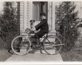 1930's Young boy with brand new bicycle and pet dog vintage photo