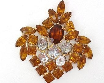 Vintage Weiss Brooch | Mystic Topaz Rhinestone Pin | Large Brooch | Statement Jewelry