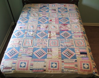 1800s Sampler Quilt, lots of old fabrics, tattered areas